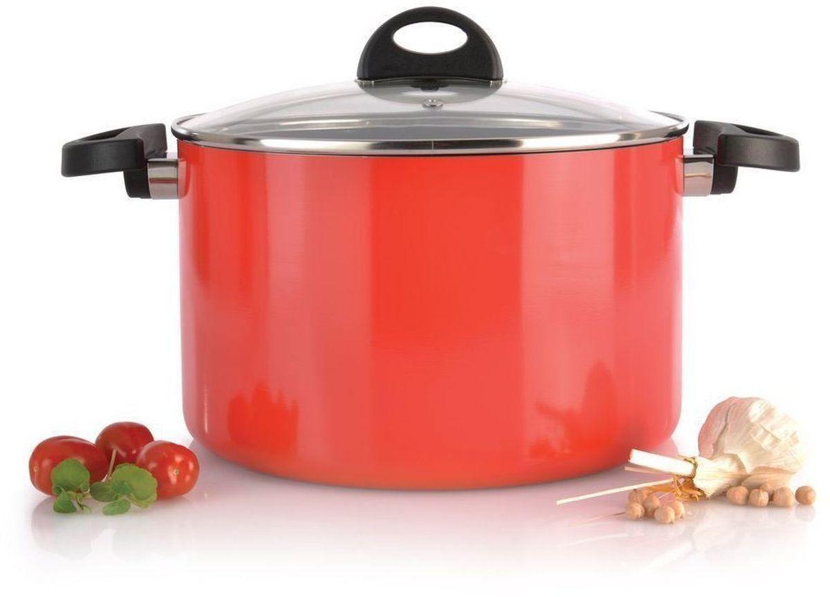 Кастрюля BergHOFF Eclipse, с крышкой, 6,6 л, цвет: красный3700115Прочная и простая в использовании посуда с быстрым и равномерным распределением тепла. Многослойное и армированное, антипригарное покрытие для удобного извлечения пищи и легкой чистки. Не содержит ни свинца, ни кадмия. Крышка обеспечивает эффективное закрытие: тепло сохраняется внутри кастрюли, что приводит к более быстрому разогреву, три вентиляционных отверстия предотвращают выплескивание. Благодаря стеклянной крышке можно наблюдать за ингредиентами в кастрюле. Не нужно поднимать крышку, растрачивая энергию и вкусовые качества. Ненагревающиеся ручки для дополнительного комфорта и безопасности.Кастрюля подходит для всех типов плит. Рекомендуется мытье вручную.