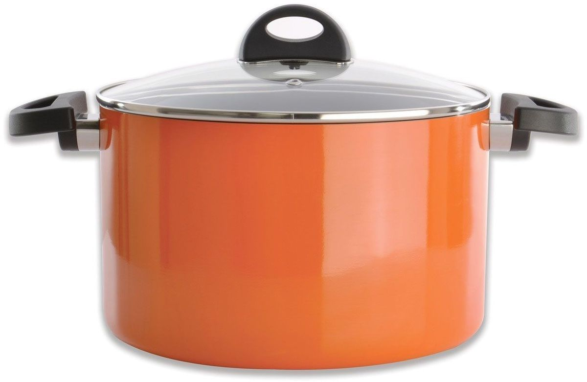Кастрюля BergHOFF Eclipse, с крышкой, 6,6 л, цвет: оранжевый3700158Прочная и простая в использовании посуда с быстрым и равномерным распределением тепла. Многослойное и армированное, антипригарное покрытие для удобного извлечения пищи и легкой чистки. Не содержит ни свинца, ни кадмия. Крышка обеспечивает эффективное закрытие: тепло сохраняется внутри кастрюли, что приводит к более быстрому разогреву, три вентиляционных отверстия предотвращают выплескивание. Благодаря стеклянной крышке можно наблюдать за ингредиентами в кастрюле. Не нужно поднимать крышку, растрачивая энергию и вкусовые качества. Ненагревающиеся ручки для дополнительного комфорта и безопасности.Кастрюля подходит для всех типов плит. Рекомендуется мытье вручную.