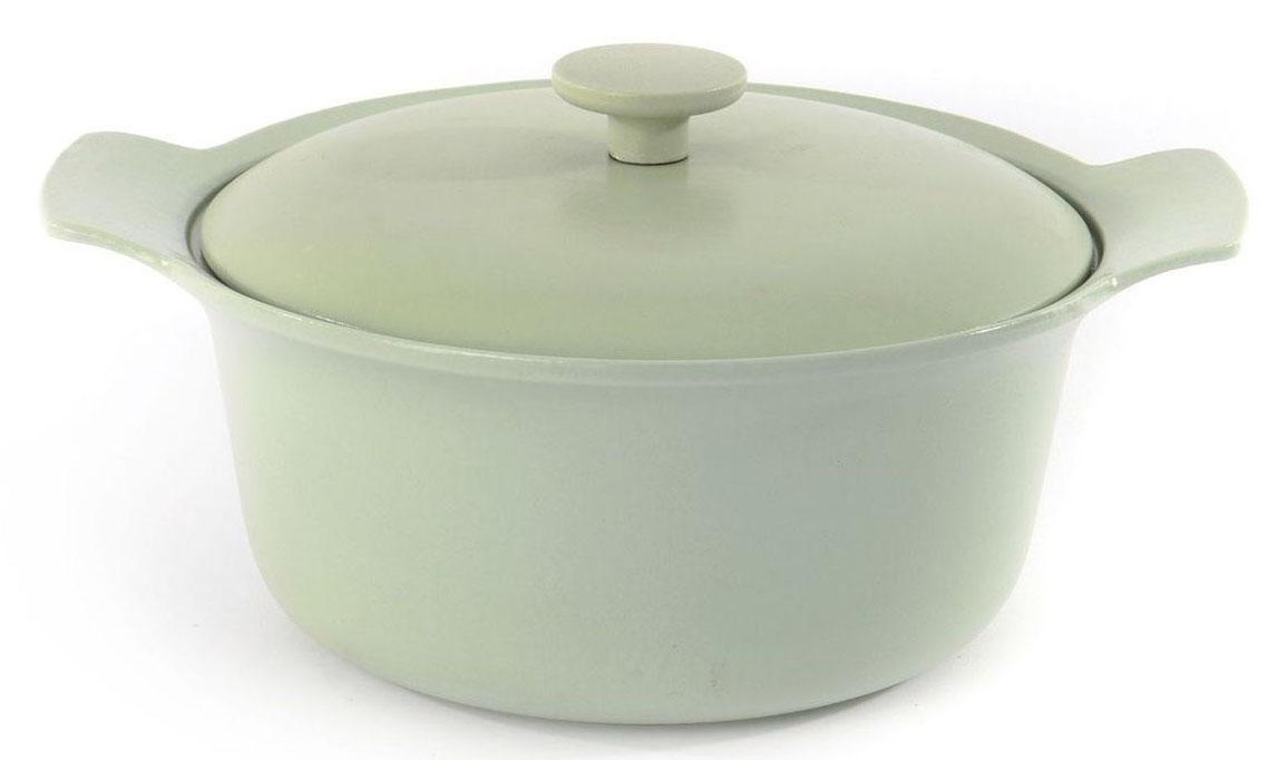 Кастрюля BergHOFF Ron, с крышкой, чугунная, овальная, 4,2 л, 24 см, цвет: зеленый. 39000453900045