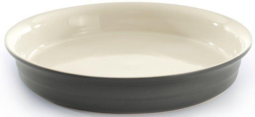 """Круглое блюдо для выпечки """"BergHOFF"""" изготовлено из жаропрочной глазурованной керамики, что обеспечивает оптимальное распределение тепла. Подходит для запекания различных блюд. Может быть использовано для подачи запеченных и охлажденных блюд на стол. Подходит для использования в СВЧ и духовом шкафу. Можно мыть в посудомоечной машине. Диаметр (по верхнему краю): 28 см."""
