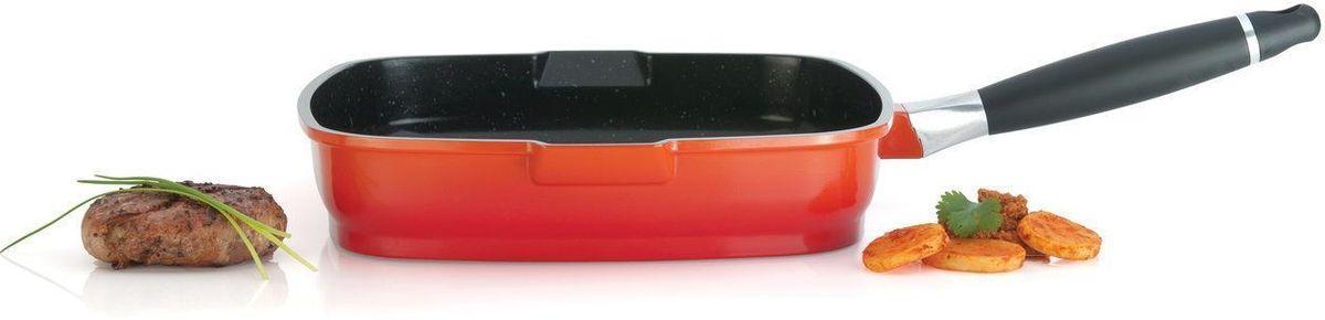 Сковорода-гриль BergHOFF Virgo, 28 см. 85001388500138Сковорода-гриль BergHOFF Virgo имеет антипригарное покрытие, которое в 4 раза прочнее традиционного. Удобна в приготовлении еды. Пища не пригорает. Поверхность посуды равномерно распределяет тепло.Ручка сковороды съемная, не нагревается, что делает посуду не только удобной для приготовления еды , но и для компактного хранения. Сковорода-гриль идеально подойдет для тех, кто любит мясо, приготовленное на гриле, но, к сожалению, не может часто выезжать не природу.Особенностью сковородки-гриль является рифленое дно, благодаря которому на сковороде можно готовить с минимальным количеством масла. В сковороде-гриль все дело в канавках, в которых задерживается выделившийся при жарке сок. На обычной сковороде этот сок испаряется, мясо начинает пригорать. и появляется дым. На мясе образуется корочка, которая является канцерогенной. При жарке на сковороде-гриль выделившийся сок стекает в канавки. Сок испаряется непосредственно в самой канавке, тем самым делая продукт более сочным и полезным. Стейки получается не только ароматными, но и приобретают аппетитный полосатый рисунок, как при приготовлении на решетке гриль. Подходит для любых типов плит, включая индукционные.Диаметр: 28 см.