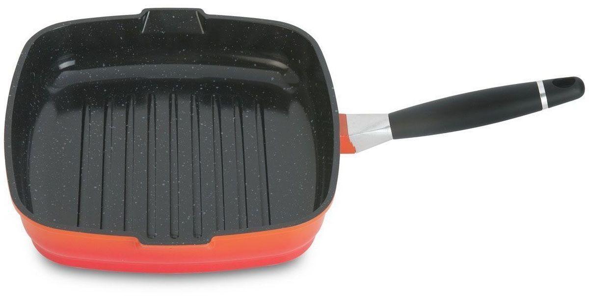 """Сковорода-гриль BergHOFF """"Virgo"""" имеет антипригарное покрытие, которое в 4 раза прочнее традиционного. Удобна в приготовлении еды. Пища не пригорает. Поверхность посуды равномерно распределяет тепло.  Ручка сковороды съемная, не нагревается, что делает посуду не только удобной для приготовления еды , но и для компактного хранения. Сковорода-гриль идеально подойдет для тех, кто любит мясо, приготовленное на гриле, но, к сожалению, не может часто выезжать не природу.  Особенностью сковородки-гриль является рифленое дно, благодаря которому на сковороде можно готовить с минимальным количеством масла. В сковороде-гриль все дело в канавках, в которых задерживается выделившийся при жарке сок. На обычной сковороде этот сок испаряется, мясо начинает пригорать. и появляется дым. На мясе образуется корочка, которая является канцерогенной. При жарке на сковороде-гриль выделившийся сок стекает в канавки. Сок испаряется непосредственно в самой канавке, тем самым делая продукт более сочным и полезным. Стейки получается не только ароматными, но и приобретают аппетитный полосатый рисунок, как при приготовлении на решетке гриль. Подходит для любых типов плит, включая индукционные.  Диаметр: 28 см."""
