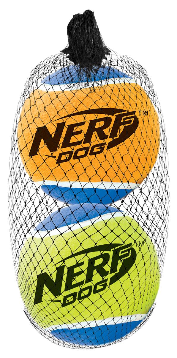 Игрушка для собак Nerf  Мяч теннисный , с пищалкой, диаметр 7,5 см, 2 шт - Игрушки