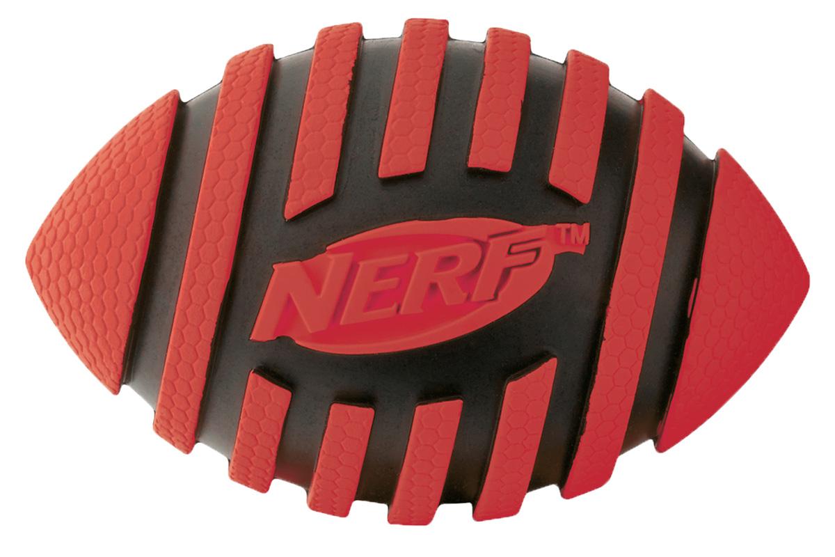Игрушка для собак Nerf Мяч для регби, с пищалкой, цвет: красный, черный, 12,5 см22224Мяч-регби Nerf имеет рельефный рисунок.Высококачественные прочные материалы, из которых изготовлена игрушка, обеспечивают долговечность использования.Звук мяча дополнительно увлекает собаку игрой.Яркие привлекательные цвета.Размер М: 12,5 см.