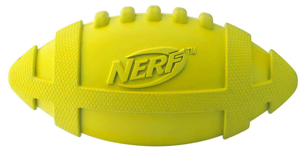 Игрушка для собак Nerf Мяч для регби, с пищалкой, цвет: желтый, 17,5 см nerf detmir ru