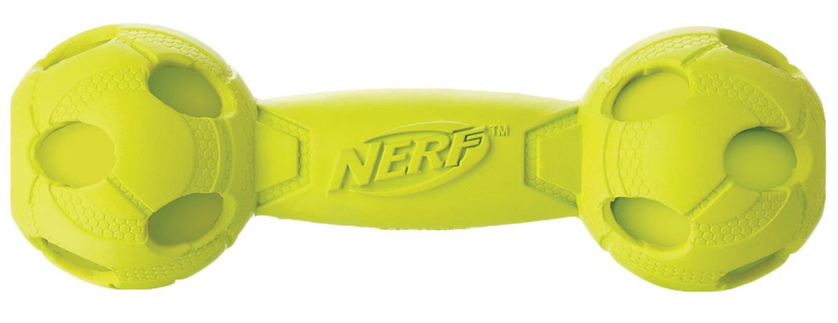 Игрушка для собак Nerf Гантель, с пищалкой, цвет: желтый, 17,5 см22255Гантель Nerf выполнена из сверхпрочной резины. Она подходит для собак с самой мощной челюстью.Оптимальна для игры с собакой и отработки команды Апорт.Высококачественные прочные материалы, из которых изготовлена игрушка, обеспечивают долговечность использования.Звук мяча дополнительно увлекает собаку игрой.Яркие привлекательные цвета привлекут внимание.Размер: 17,5 см.