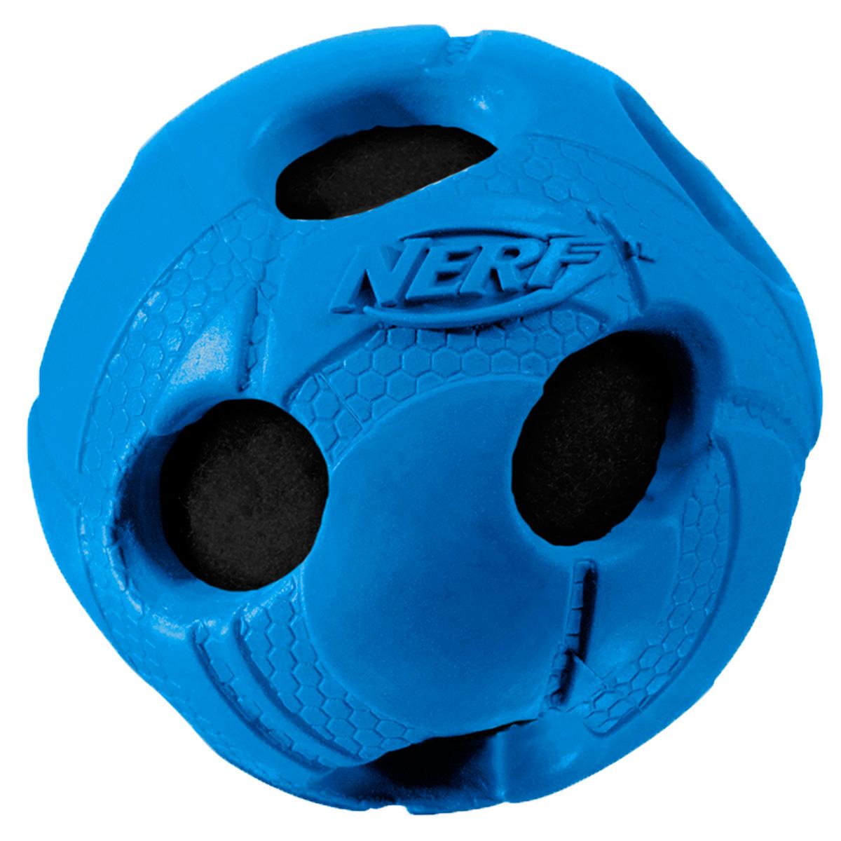 Игрушка для собак Nerf Мяч, с отверстиями, цвет: синий, диаметр 7,5 см22286Мяч Nerf выполнен из прочной резины с теннисным мячом внутри.Высококачественные прочные материалы, из которых изготовлена игрушка, обеспечивают долговечность использования.Звук мяча дополнительно увлекает собаку игрой.Яркие привлекательные цвета и рельефный рисунок привлекут внимание.Размер: 7,5 см.