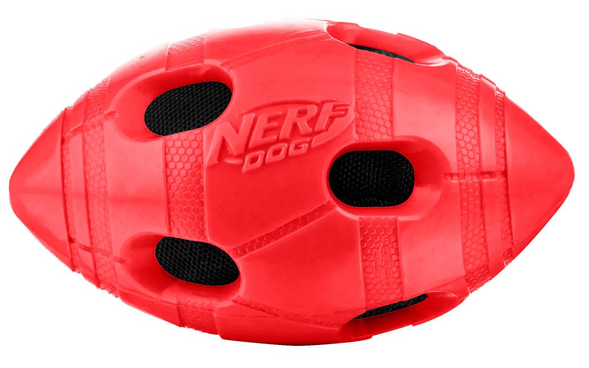 Игрушка для собак Nerf Мяч для регби, цвет: красный, 10 см игрушка для животных каскад мяч мина резиновый цвет красный 10 см