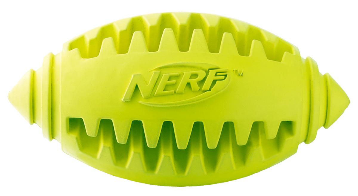 Игрушка для собак Nerf Мяч для регби, рифленый, цвет: зеленый, 10 см22361Мяч-регби Nerf выполнен из сверхпрочной резины для удовлетворения жевательных инстинктов вашего питомца.Оптимален для игры с собакой дома и на свежем воздухе.Подходит собакам с самой мощной челюстью.Высококачественные прочные материалы, из которых изготовлена игрушка, обеспечивают долговечность использования.В выемки возможно поместить любимые лакомства вашего питомца для большей заинтересованности в игре и для усиления охотничьего инстинкта.Размер М: 10 см.