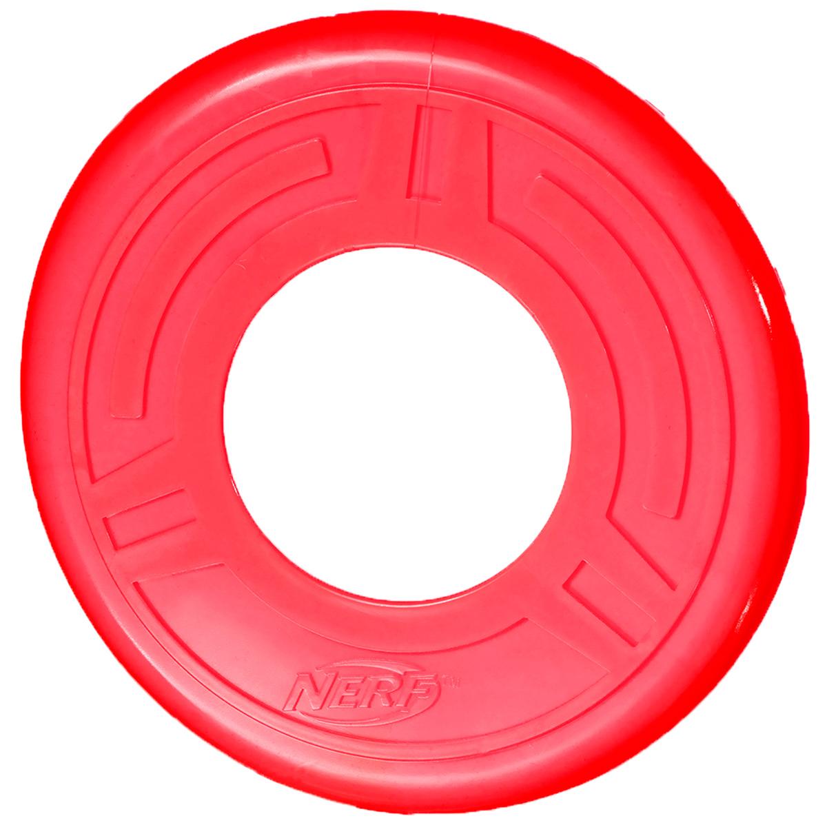 Игрушка для собак Nerf Диск для фрисби, цвет: красный, 25 см22392Летающая тарелка-фрисби Nerf - это удивительный спортивный снаряд, с которым не придется скучать.Кроме великолепных лётных качеств, диск безопасен для собачьих зубов и десен.Диск изготовлен из сверхпрочной резины, что обеспечивает долговечность использования.Оптимальна для перетягивания, подходит для игры двух собак.Яркие привлекательные цвета.Размер: 25 см.