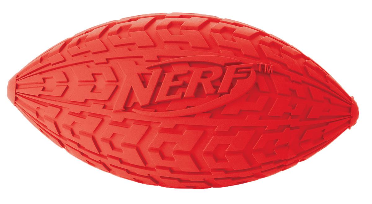 Мяч для собак Nerf Регби, с пищалкой, цвет: красный, 10 см22439Мяч-регби Nerf имеет уникальный рисунок протектора шины.Изготовлен из сверхпрочной резины, что обеспечивает долговечность использования. Подходит для собак с самой мощной челюстью.Оснащен пищалкой.Яркие привлекательные цвета.Размер S: 10 см.