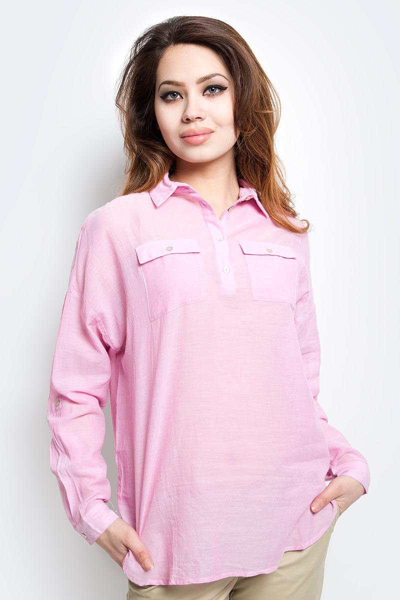 Блузка женская Finn Flare, цвет: розовый. S17-14077_324. Размер M (46) блузка женская finn flare цвет темно синий s17 12040 101 размер xxl 52