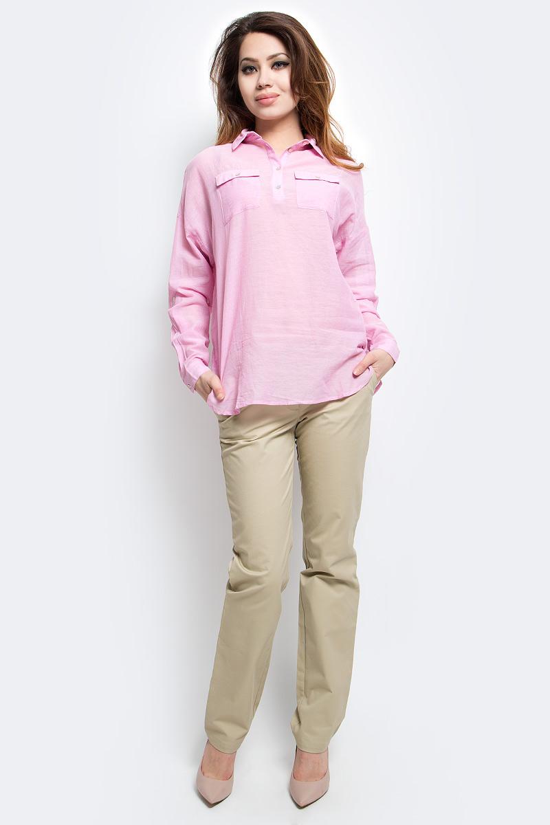 Блузка женская Finn Flare, цвет: розовый. S17-14077_324. Размер M (46)S17-14077_324Блузка женская Finn Flare выполнена из 100% хлопка. Модель с отложным воротником и длинными рукавами застегивается на пуговицы.