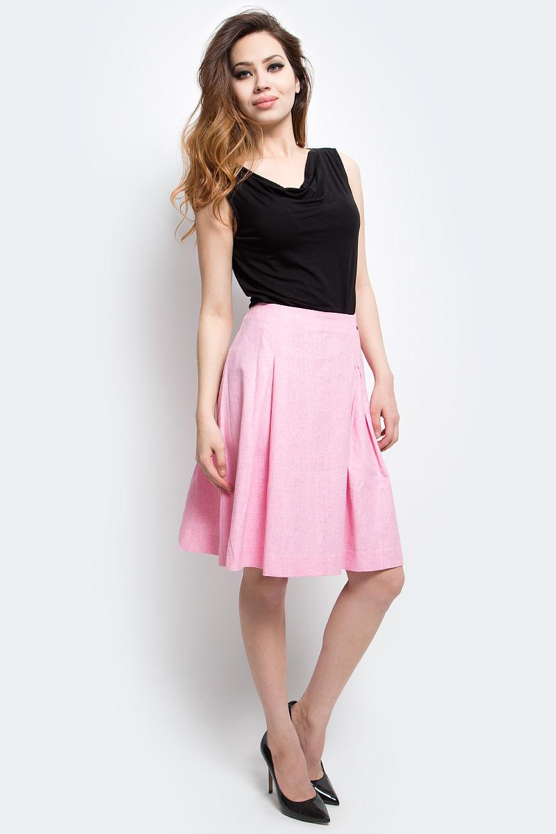 Юбка женская Finn Flare, цвет: розовый мрамор. S17-32017_812. Размер L (48)S17-32017_812Юбка женская Finn Flare выполнена из полиэстера, льна и хлопка. Модель длинной макси.