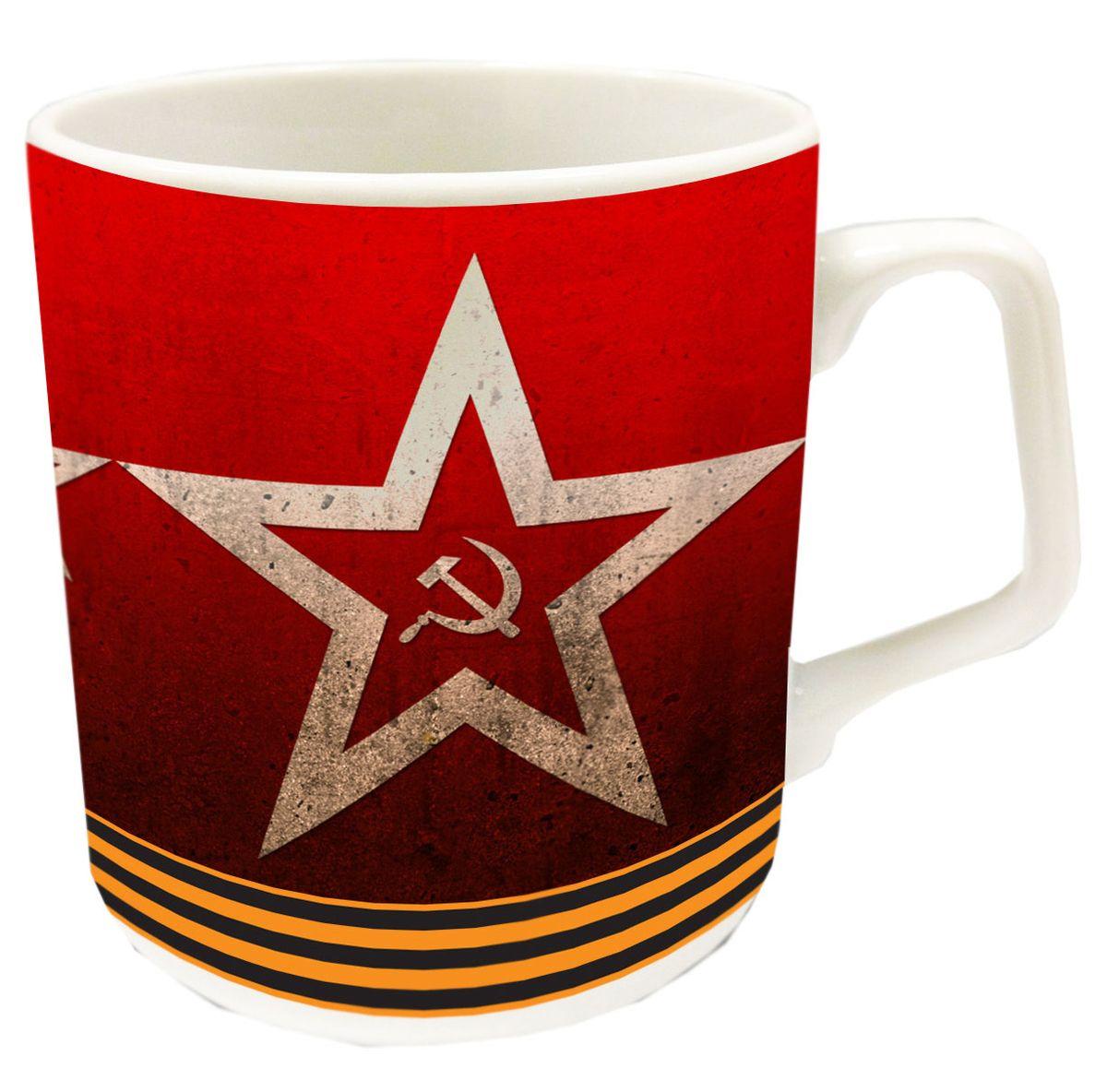 """Кружка """"PrioritY"""" с изображением символики СССР выполнена из фарфора. Можно использовать в микроволновой печи и посудомоечной машине.Упакована в подарочную упаковку.Объем: 350 мл."""