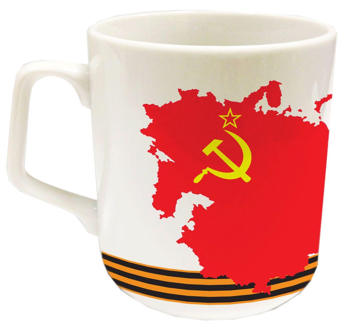 """Кружка """"PrioritY"""" с изображением символики СССР выполнена из фарфора.  Можно использовать в микроволновой печи и посудомоечной машине. Упакована в подарочную упаковку. Объем: 350 мл."""