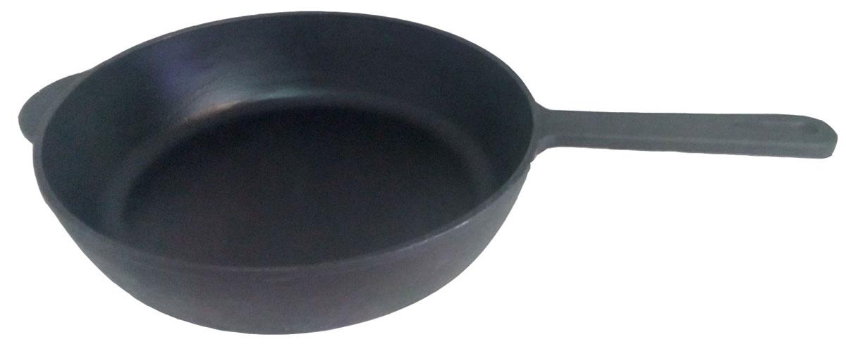 """Сковорода чугунная """"Эколит"""" с литой чугунной ручкой диаметром 28 см.  В такой  сковороде вы будете готовить постоянно, так как блюда получаются изысканными за счет томления.  Такую сковороду вы можете использовать, как в домашних условиях, так и на открытом огне. Сковорода с термообработкой, что защищает ее от пищевых кислот, такой кастрюлей можно пользоваться как на газовой, так и на электрической плите.  Вес сковороды 3 кг."""