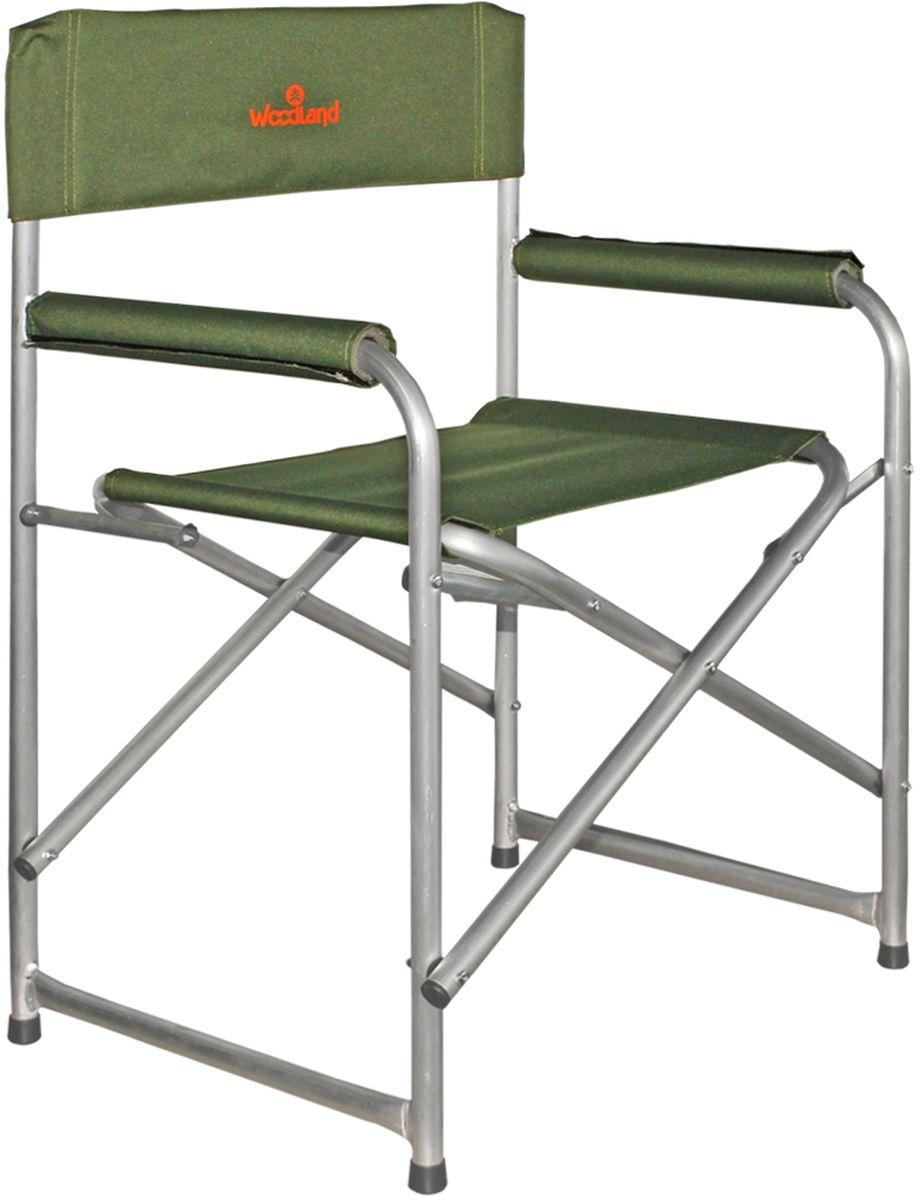 Кресло складное Woodland Outdoor ALU, цвет: оливковый, стальной, 56 х 57 х 50 см