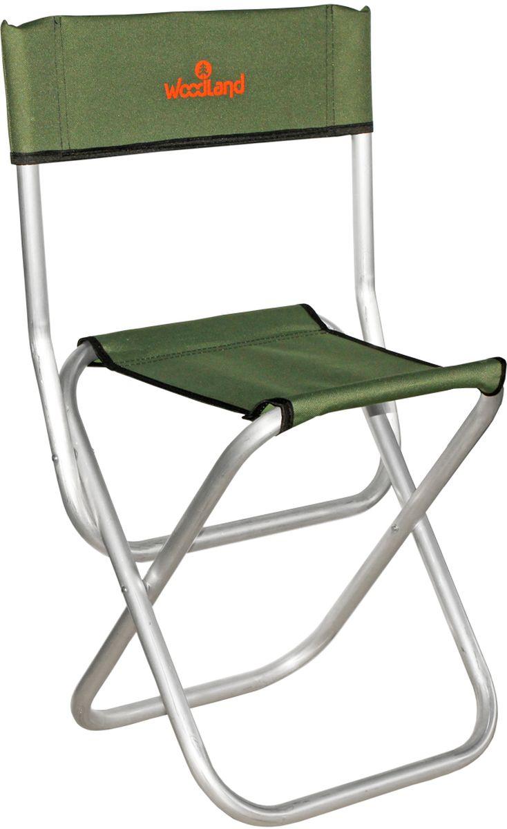 Стул складной Woodland Tourist ALU MINI, со спинкой, цвет: оливковый, стальной, 33,5 х 29 х 39 (67,5) см