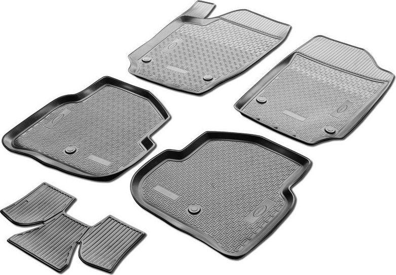 Коврики салона Rival для Ford Kuga 2012-2017, 2017-, c перемычкой, полиуретан11804001Прочные и долговечные коврики Rival в салон автомобиля, изготовлены из высококачественного и экологичного сырья. Коврики полностью повторяют геометрию салона вашего автомобиля.- Надежная система крепления, позволяющая закрепить коврик на штатные элементы фиксации, в результате чего отсутствует эффект скольжения по салону автомобиля.- Высокая стойкость поверхности к стиранию.- Специализированный рисунок и высокий борт, препятствующие распространению грязи и жидкости по поверхности коврика.- Перемычка задних ковриков в комплекте предотвращает загрязнение тоннеля карданного вала.- Коврики произведены из первичных материалов, в результате чего отсутствует неприятный запах в салоне автомобиля.- Высокая эластичность, можно беспрепятственно эксплуатировать при температуре от -45°C до +45°C. Уважаемые клиенты! Обращаем ваше внимание, что коврики имеют форму, соответствующую модели данного автомобиля. Фото служит для визуального восприятия товара.