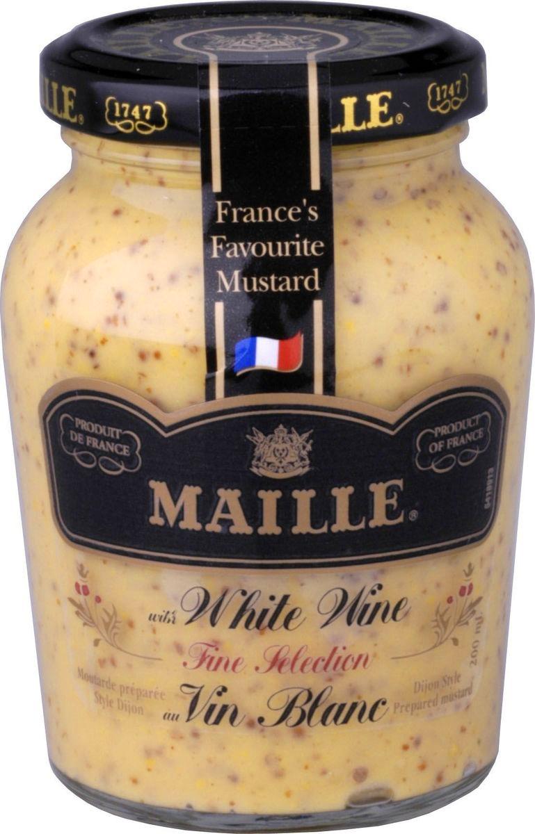 Традиционная горчица с добавлением белого вина, созданная по старинному французскому рецепту, имеет пикантный вкус. Подходит для рыбных блюд.