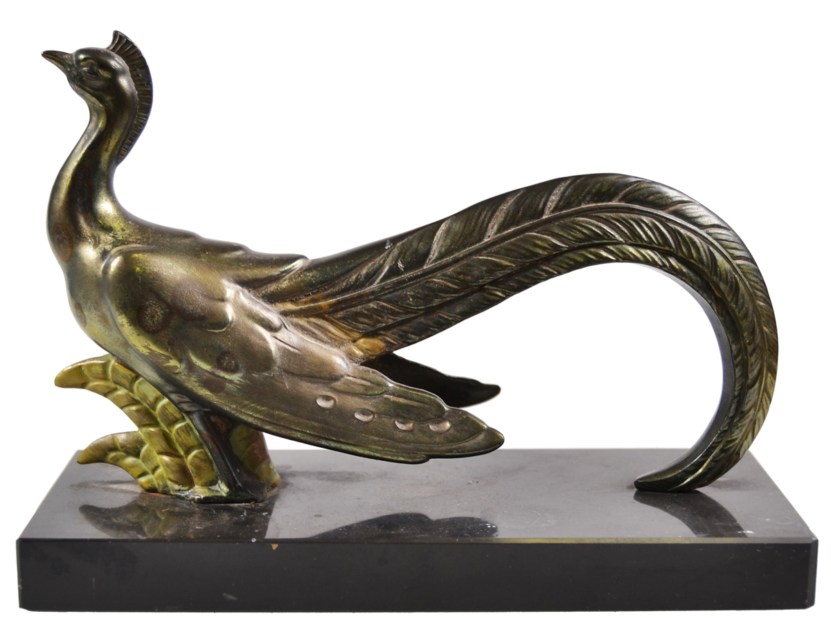 Статуэтка Фазан. Металл, литье, чеканка, мрамор (основание). Германия, 1930-е гг. статуэтка кролик 30 х 20 х 29 см