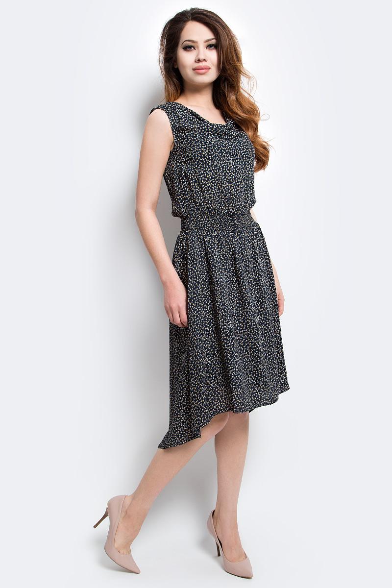 Платье Finn Flare, цвет: черный. S17-14044_200. Размер M (46)S17-14044_200Платье Finn Flare выполнено из вискозы. Модель без рукавов оформлена оригинальным принтом.