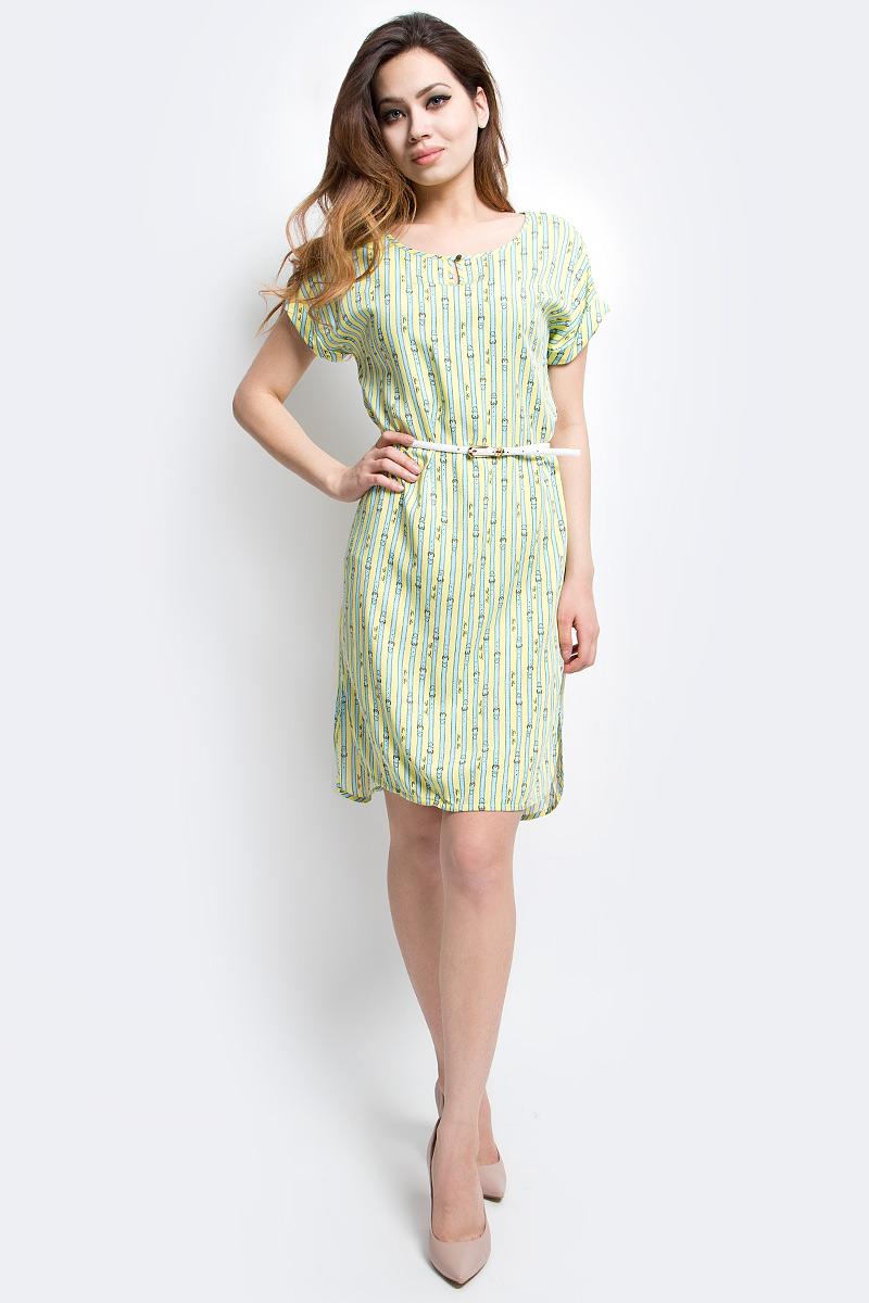 Платье Finn Flare, цвет: ярко-зеленый. S17-14020_518. Размер S (44)S17-14020_518Платье Finn Flare выполнено из вискозы. Модель с круглым вырезом горловины и короткими рукавами.