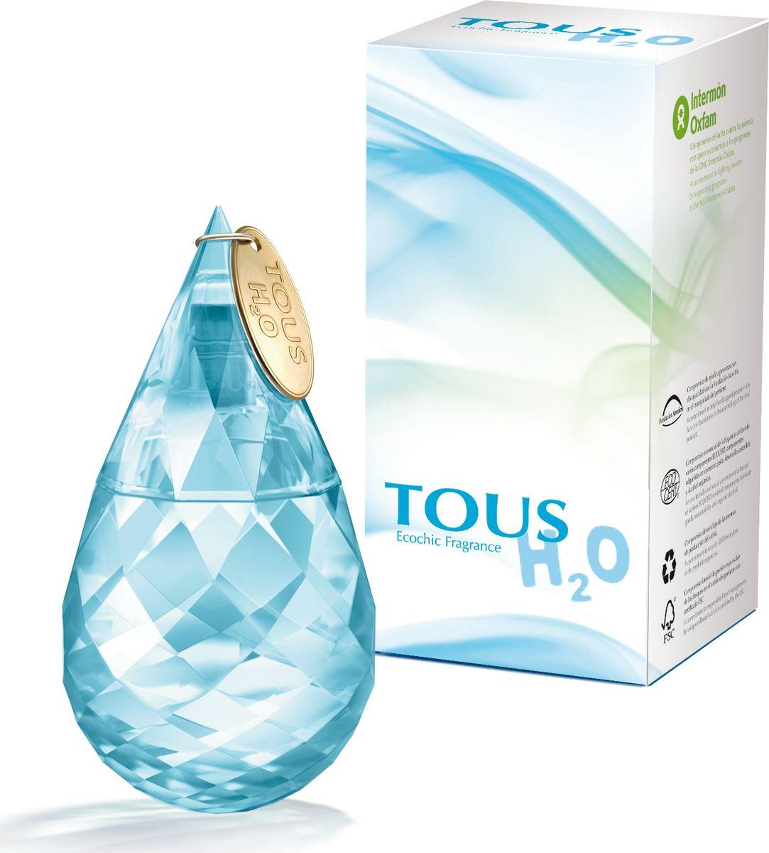 Tous H20 Туалетная вода 30 мл771041Парфюмерная композиция Tous H2O как будто вобрала в себя свежесть прохладного ручья и аромат цветущего сада, на лепестках роз которого капли росы поутру напоминают бриллианты.