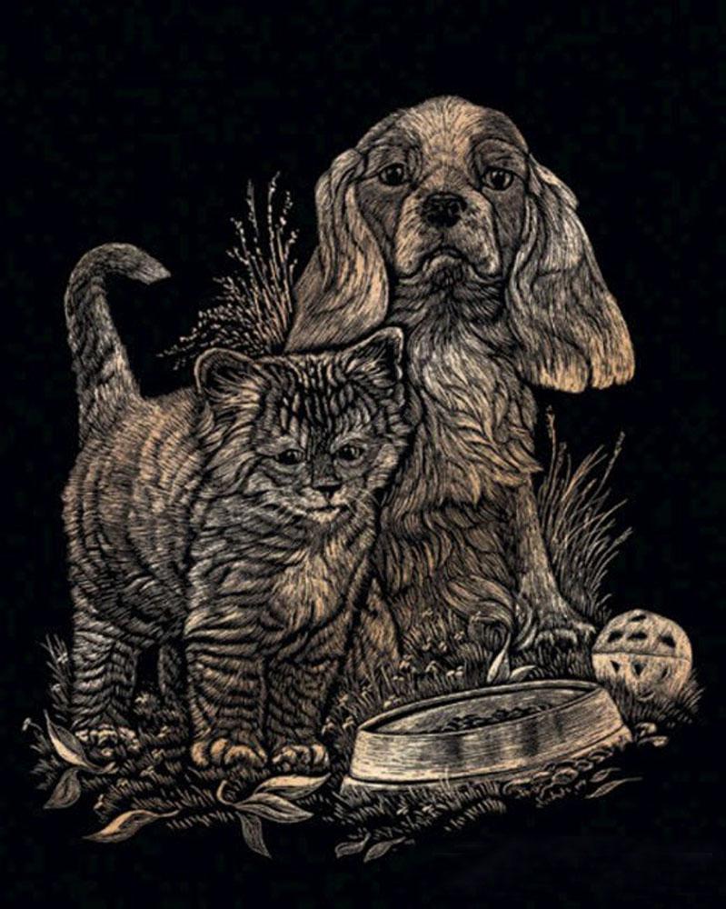 Royal & Langnickel Гравюра с эффектом меди Котенок и щенок