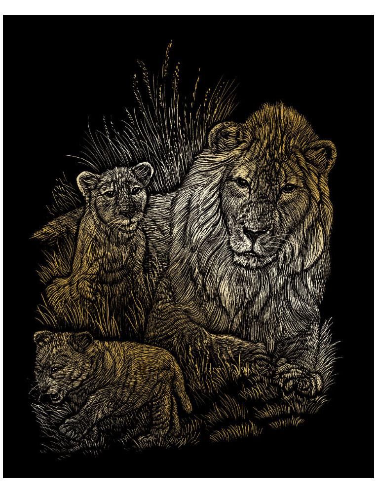 Royal & Langnickel Гравюра с эффектом золота Львы