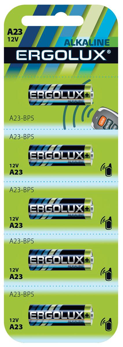 Батарейка алкалиновая Ergolux, тип A23, 5 шт12296Щелочные (алкалиновые) батарейки Ergolux оптимально подходят для повседневного питания множества современных бытовых приборов: электронных игрушек, фонарей, беспроводной компьютерной периферии и многого другого. Не содержат кадмия и ртути. Батарейки созданы для устройств со средним и высоким потреблением энергии. Работают в 10 раз дольше, чем обычные солевые элементы питания.В комплекте: 5 батареек.
