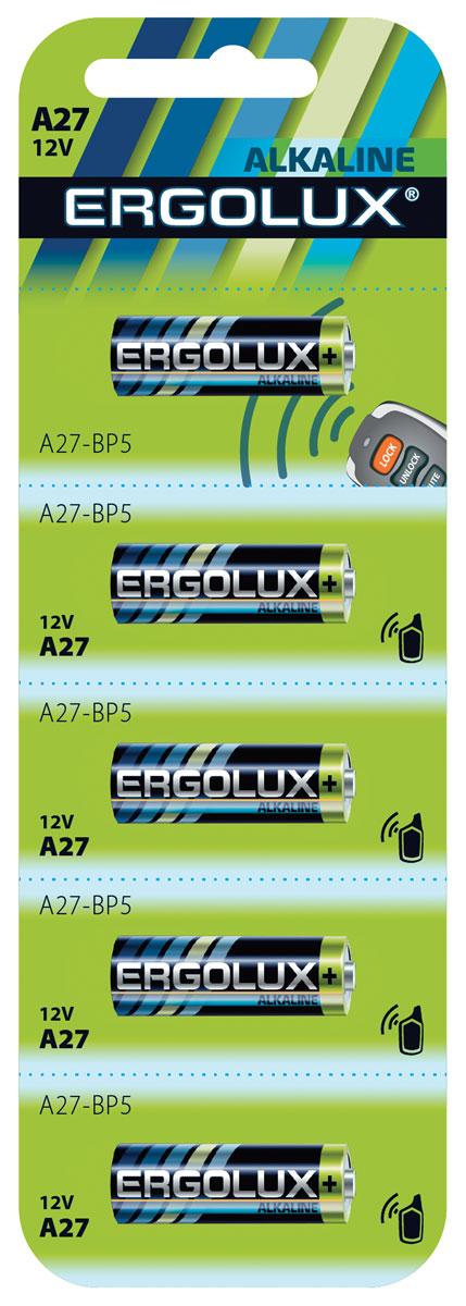 Набор алкалиновых батареек Ergolux, тип A27, 5 шт12297Алкалиновые батарейки Ergolux оптимально подходят для повседневного питания множества современных бытовых приборов: электронных игрушек, фонарей, беспроводной компьютерной периферии и многого другого. Не содержат кадмия и ртути. Батарейки созданы для устройств со средним и высоким потреблением энергии. Работают в 10 раз дольше, чем обычные солевые элементы питания.