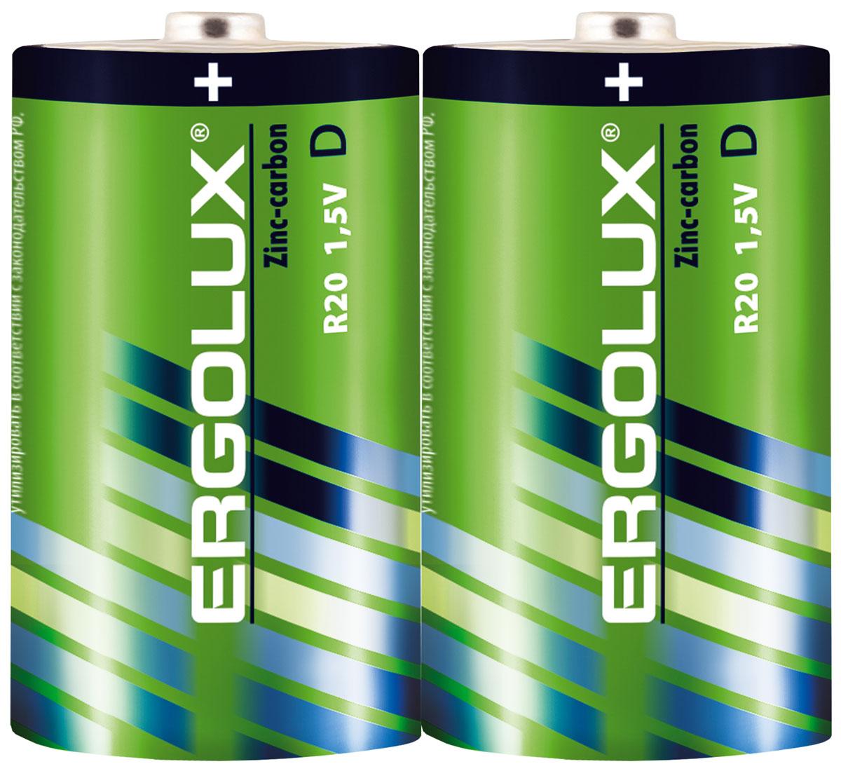 Батарейка солевая Ergolux, тип R20 SR2, 1,5 В, 2 шт12442Недорогая солевая батарейка. Надежна в эксплуатации. Идеальная батарейка для ежедневного использования. Устойчива к протеканию. Не содержит ртути и кадмия.