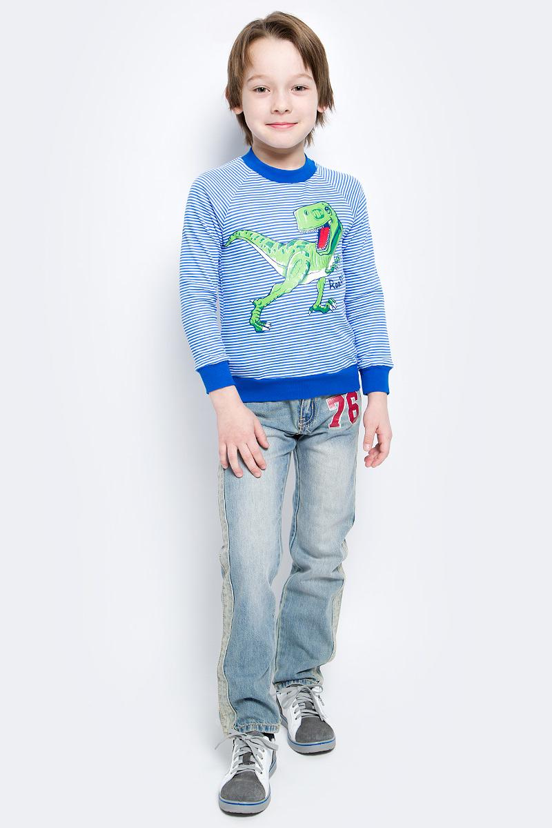 Лонгслив для мальчика M&D, цвет: голубой, белый. WJK16004M-23. Размер 116, 6 лет наш хор хрестоматия выпуск 1