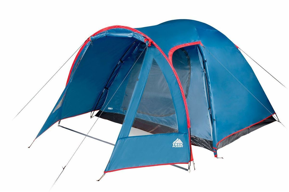 Палатка четырехместная TREK PLANET Texas 4, цвет: синий, красный70117Четырехместная кемпинговая высокая палатка TREK PLANET Texas 4 с хорошей вентиляцией и большим и светлым тамбуром с дополнительным входом и обзорными окнами, хорошо подойдет для кемпинга выходного дня или отдыха на природе с семьей. В тамбуре легко разместятся кемпинговый стол и стулья. Самая доступная среди больших кемпинговых палаток! Особенности модели: Простая и быстрая установка, Тент палатки из полиэстера с пропиткой PU, надежно защитит от дождя и ветра, Все швы проклеены, Просторный и высокий тамбур с двумя входами, Большие обзорные окна со шторками в тамбуре, Два больших вентиляционных окна, Каркас выполнен из прочного стеклопластика, Дно из прочного водонепроницаемого армированного полиэтилена позволяет устанавливать палатку на жесткой траве, песчаной поверхности, глине и т.д. Внутренняя палатка, выполненная из дышащего полиэстера, обеспечивает вентиляцию помещения и позволяет конденсату испаряться, не проникая внутрь палатки, Удобная D-образная дверь на входе во внутреннюю палатку, Москитная сетка на входе в спальное отделение в полный размер двери, Внутренние карманы для мелочей, Возможность подвески фонаря в палатке. Палатка упакована в сумку-чехол с ручками, застегивающуюся на застежку-молнию. Характеристики: Количество мест: 4 Размер: 240 х (210+130) х 160/170 см. Размер в сложенном виде: 64 х 21 х 21 см. Материал внешнего тента: 100% полиэстер, пропитка PU. Водостойкость: 2000 мм. Материал внутренней палатки: 100% дышащий полиэстер. Материал пола: 100% армированный полиэтилен. Материл дуги: стекловолокно 9,5 мм. Вес палатки: 6,1 кг. Что взять с собой в поход?. Статья OZON Гид