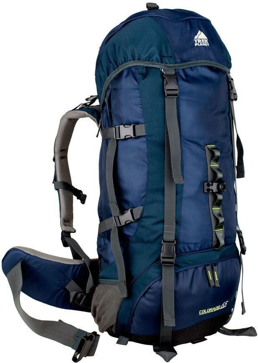 Рюкзак туристический TREK PLANET Colorado 65, цвет: синий, темно-синий, 65 л70552Практичный туристический рюкзак TREK PLANET Colorado 65 станет отличным выбором для любителей походов и кемпингов. Анатомическая вентилируемая спина обеспечивает максимальный комфорт и стабилизацию рюкзака на спине. Оптимальное распределение нагрузки выполняет регулируемая система жесткой подвески V1. Объем рюкзака регулируется вертикальными и горизонтальными стропами. Дополнительный вход в нижнее отделение и два глубоких кармана на молнии по бокам.Особенности рюкзака: 2 глубоких кармана на молнии по бокам,2 боковых сетчатых кармана на резинке,Карман на поясном ремне,Дополнительные лямки внизу для крепления снаряжения,2 кармана в верхнем клапане,Дополнительный вход в нижнее отделение Компрессионные ремни.Съемный чехол от дождя.Объем рюкзака: 65 л.