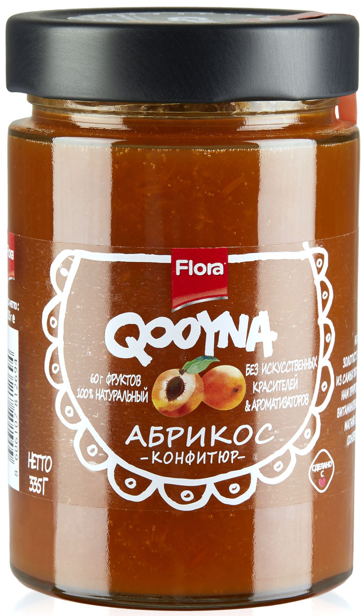 Qooyna Абрикос конфитюр, 335 г3400506Классический итальянский джем из спелых абрикосов. Прекрасно подходит для сладких начинок или как дополнение к разным блюдам: от мороженого и йогуртов до блинчиков.