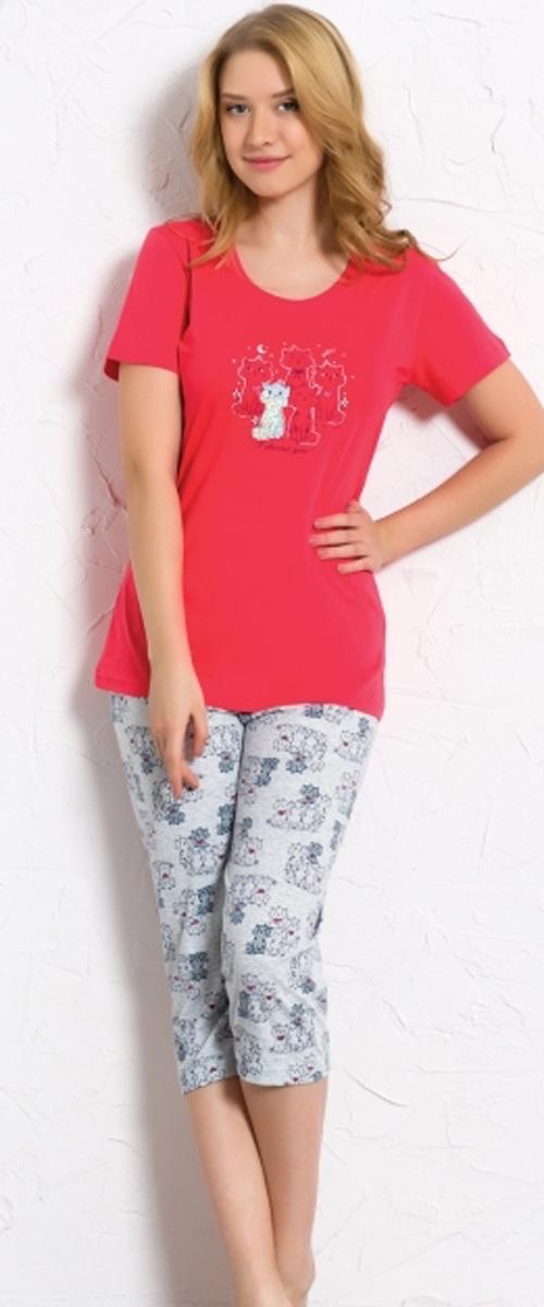 Комплект домашний женский Vienetta's Secret: футболка, капри, цвет: брусничный, серый. 608039 0322. Размер XL (50) комплект домашний женский vienetta s secret футболка капри цвет синий 408052 4668 размер xl 50