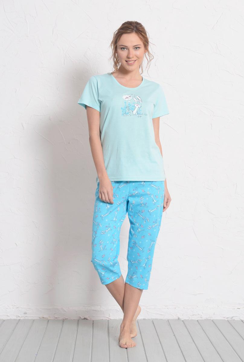 Комплект домашний женский Vienetta's Secret: футболка, капри, цвет: голубой. 608027 0318. Размер XL (50) комплект домашний женский vienetta s secret футболка капри цвет синий 408052 4668 размер xl 50