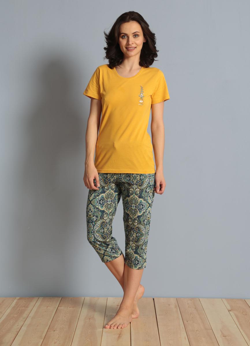 Комплект домашний женский Vienetta's Secret: футболка, капри, цвет: желтый, синий. 610194 5433. Размер S (44) капри oodji капри