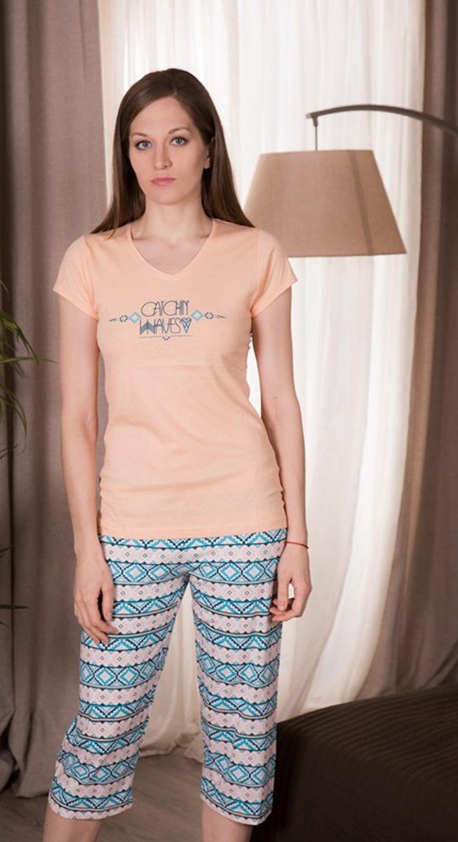 Комплект домашний женский Vienetta's Secret: футболка, капри, цвет: персиковый, голубой. 410038 4045. Размер XL (50) капри lafei nier бриджи и капри спортивные