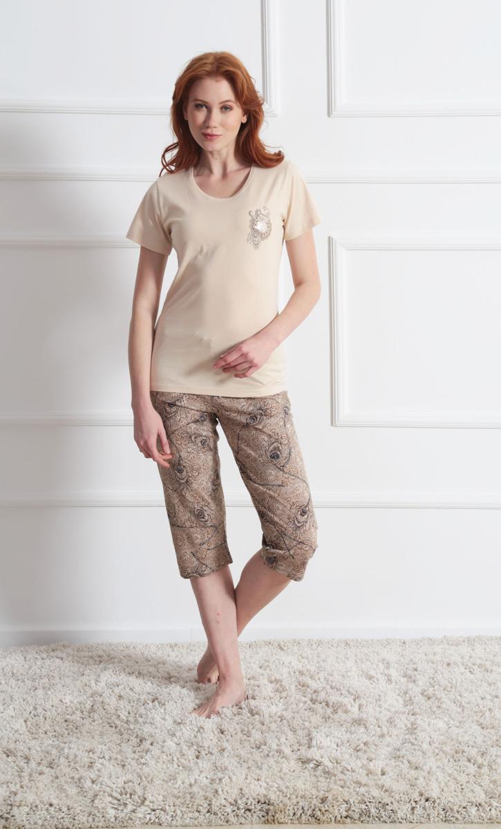 Комплект домашний женский Vienetta's Secret: футболка, капри, цвет: кремовый, бежевый. 609144 0721. Размер S (44) капри oodji капри
