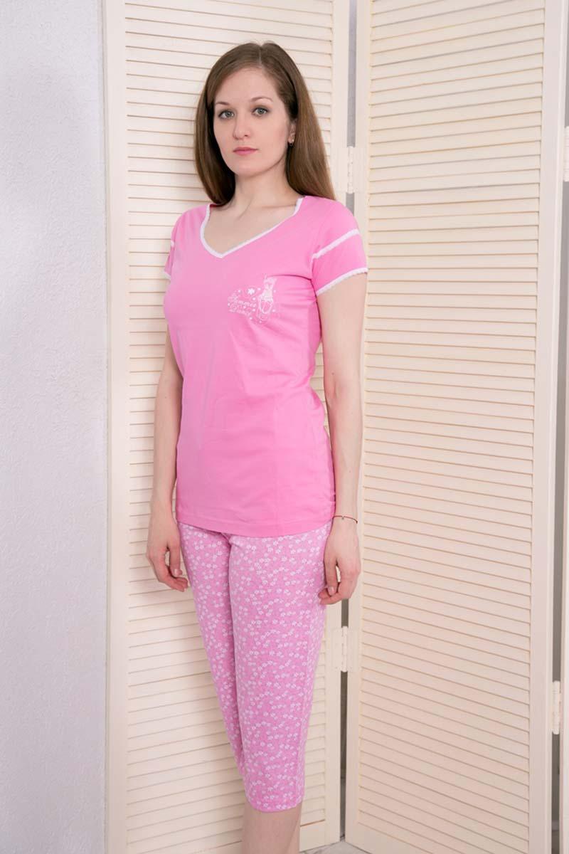 Комплект домашний женский Vienetta's Secret: футболка, капри, цвет: розовый. 408052 4668. Размер XL (50) капри oodji капри