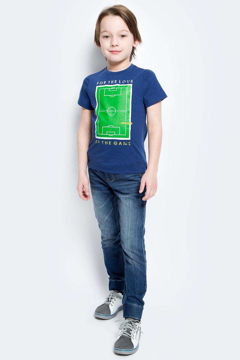 Футболка для мальчика Modniy Juk Ground, цвет: темно-синий. 01В00070100. Размер 98