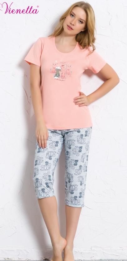 Комплект домашний женский Vienetta's Secret: футболка, капри, цвет: персиковый, серый. 608039 0322. Размер XL (50) капри apanage капри