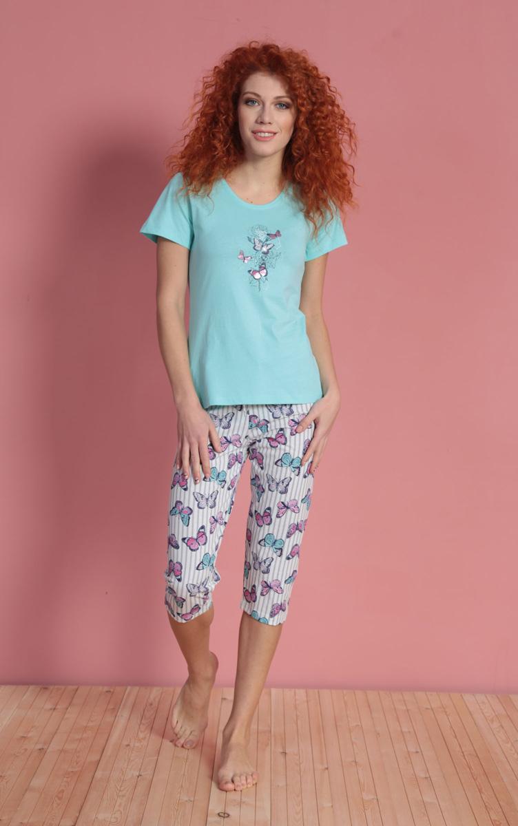 Комплект домашний женский Vienetta's Secret: футболка, капри, цвет: светло-бирюзовый, белый. 610325 1144. Размер XL (50) комплект домашний женский vienetta s secret футболка капри цвет синий 408052 4668 размер xl 50