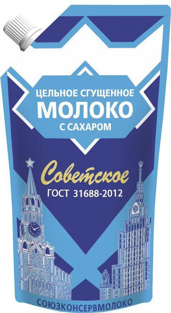 Союзконсервмолоко Советское молоко сгущенное, 270 г515/3Молоко цельное сгущенное Советское подходит для добавления в чай, кофе, изготовления кондитерских изделий. Сладкий вкус с выраженным вкусом пастерилизовонного молока. Пищевая ценность на 100 г продукта: жира - 8.5 г, белка - 7.2 г, углеводов - 56 г.