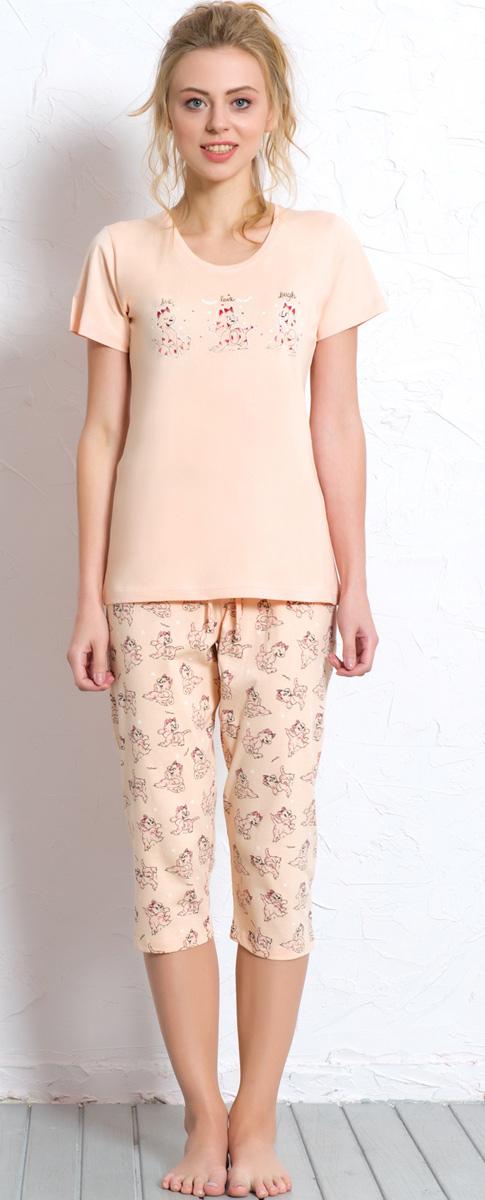 Комплект домашний женский Vienetta's Secret: футболка, капри, цвет: персиковый. 608050 0324. Размер XL (50) комплект домашний женский vienetta s secret футболка капри цвет синий 408052 4668 размер xl 50