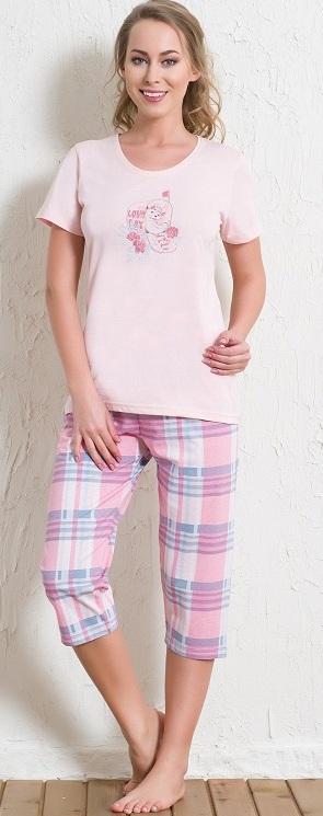 Комплект домашний женский Vienetta's Secret: футболка, капри, цвет: розовый. 512166 5519. Размер M (46) капри lafei nier бриджи и капри спортивные
